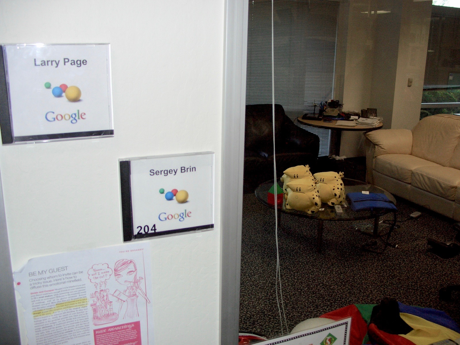 Brin and Page's shared office